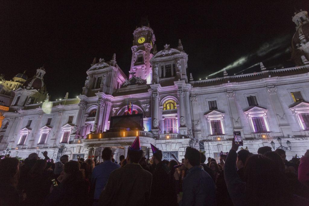 nochevieja en plaza del ayuntamiento de valencia